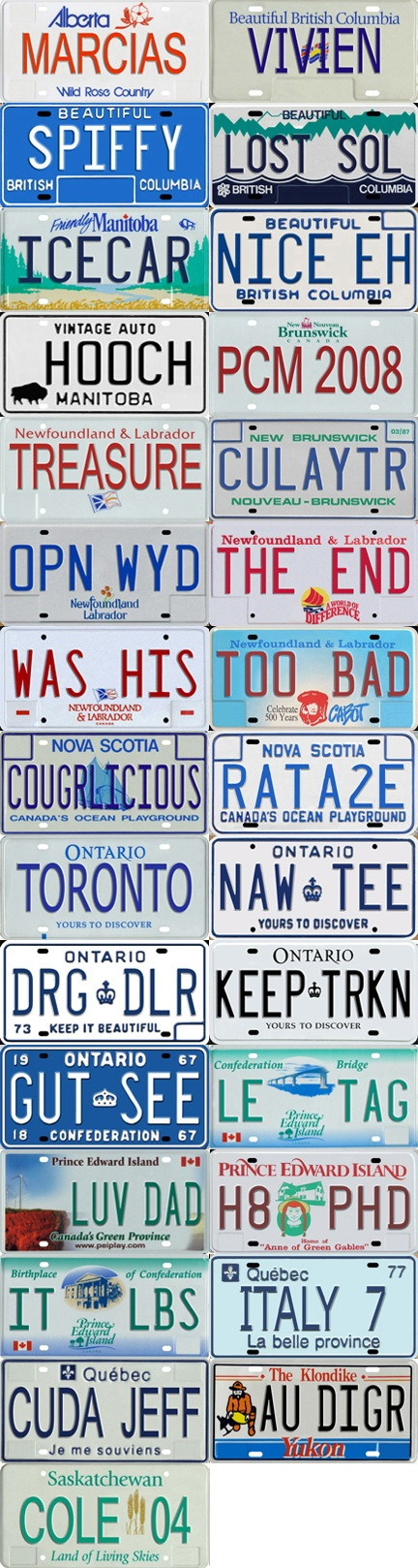 Plates from various Canadian provinces