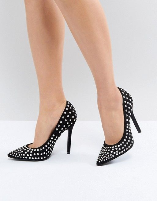 608e35e1bfb1 RAID Katie Black Studded Block Heel Pumps