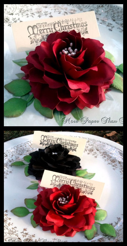 Handmade Paper Flower Place Cards #wedding #Flowers #Table #Decor