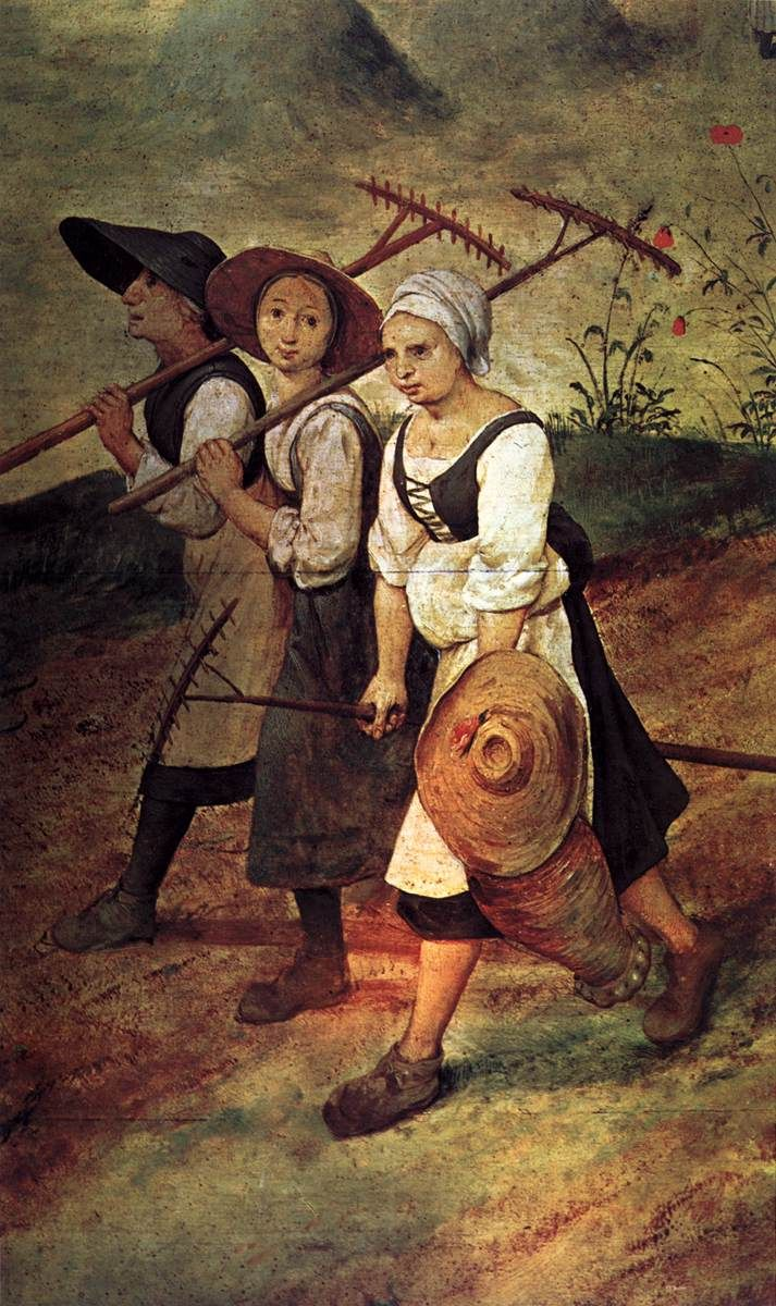 Pieter Bruegel the Elder - Haymaking - detail (1565)  Rakes and jug