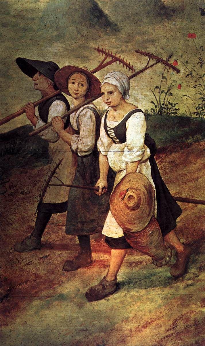 Pieter Bruegel the Elder - Haymaking - detail (1565)  Rakes and jug