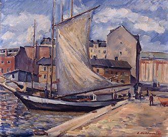 Arvo Makkonen, maalaus 1929. Hakaniemenranta.