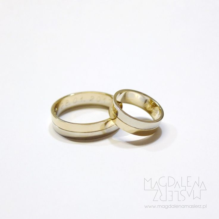 14k white and yellow gold wedding bands divided with a groove. 2017