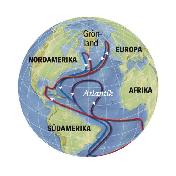 Ozeanzirkulation: Der Golfstrom und seine nördlichen Ausläufer bestimmen das europäische Klima. Ohne die Wärmeenergie des Meeres wäre es in Nordeuropa deutlich kälter.