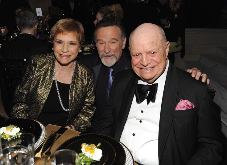 """Comedian Don Rickles, wife Barbara Rickles and Robin Williams attend Comedy Central's """"The Comedy Awards 2012"""" at Hammerstein Ballroom on April 28, 2012 in New York City."""