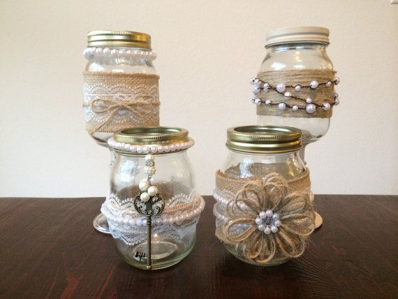 Shabby Chic Mason Jars decorated with Burlap, Lace and Pearls for Country Wedding Décor