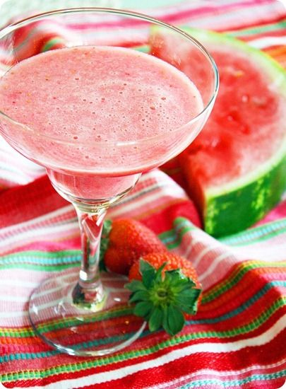 WATERMELON STRAWBERRY VODKA DAIQUIRI - (makes 4)  2 Tbsp Epicure's Summer Berry Fruit Dip Mix, 3 cups seedless watermelon chunks, 1 cup strawberries, cut into quarters, 4 ounces vodka, 4 Tbsp lime juice, 4 cups ice cubes, Half a lime, cut into wedges, Epicure's Margarita Rim Trimmer™. Blend first 4 ingredients on high for 1–2 minutes, or until smooth. Wet the rim of 4 glasses with lime & dip into Epicure's Margarita Rim Trimmer. Pour into glasses. Garnish with watermelon or strawberry's…