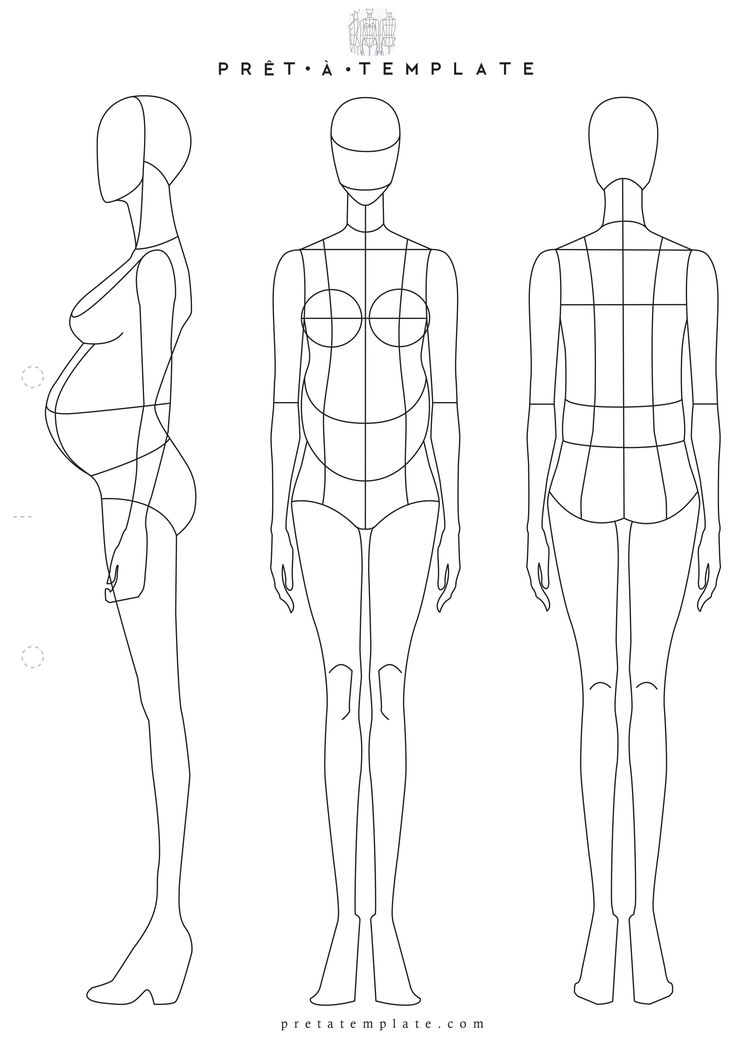 Pregnant maternity Woman body figure fashion template (D-I-Y your own Fashion Sketchbook)