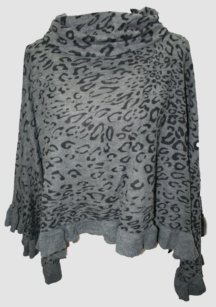 Le Papillon Vert's Arabella Poncho, Charcoal Grey with Black Leopard Spots... perfect with your favourite jeans this Autumn.