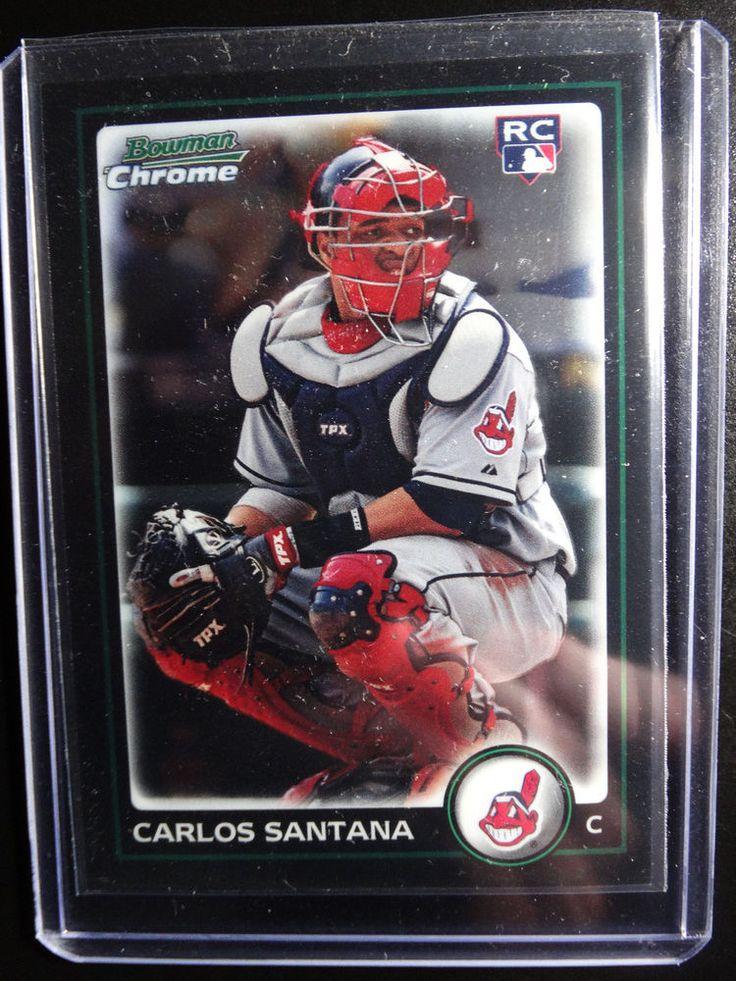 2010 Bowman Chrome #214 Carlos Santana Cleveland Indians Baseball Rookie Card #BowmanChrome #ClevelandIndians