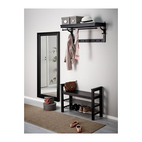 HEMNES Bench with shoe storage - black-brown - IKEA