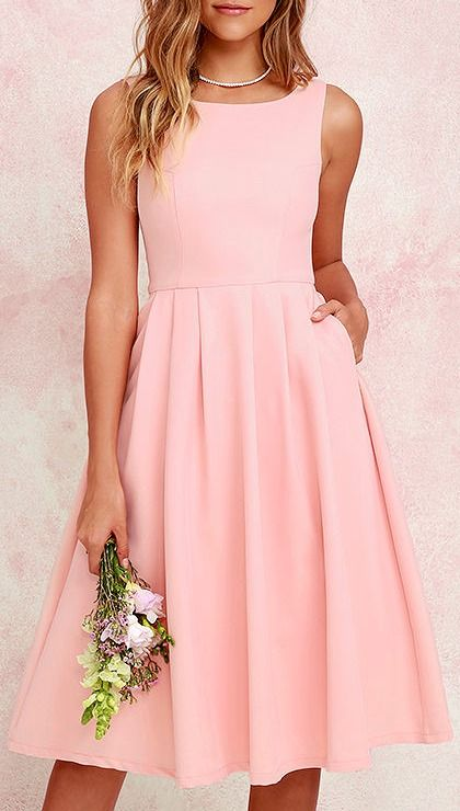 Ambitious Beauty Peach Midi Dress