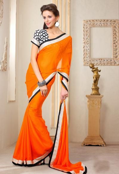 USD 41.41 Orange Chiffon Party Wear Saree 30629