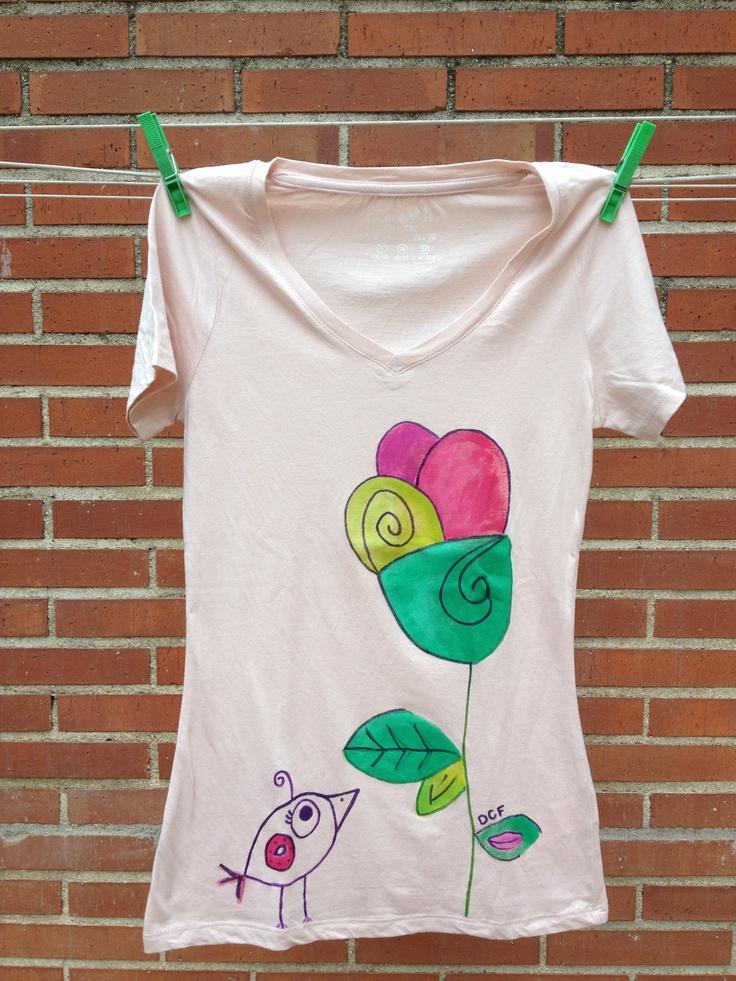 Camiseta chica pintada a mano de colores flores textil pinterest - Plantillas para pintar camisetas a mano ...