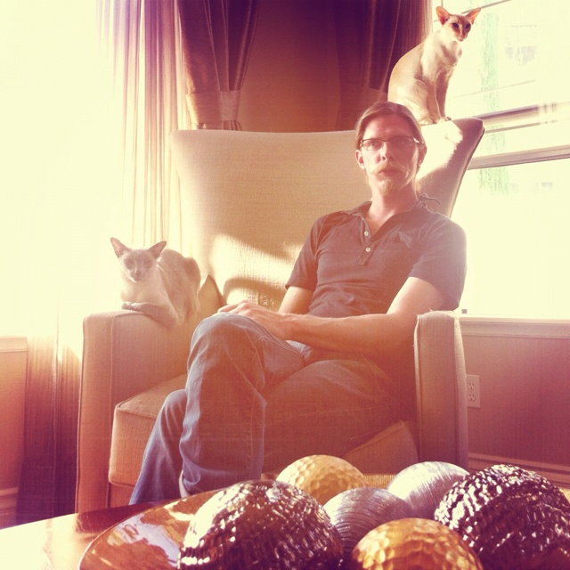 "This picture I call ""Manly with Cats"". Hahaha"