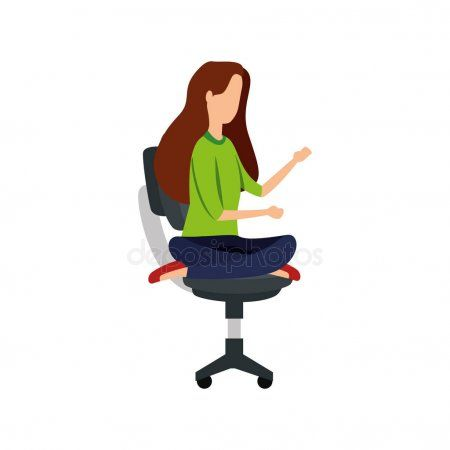 Elegant businesswoman with lotus position in office chair ...