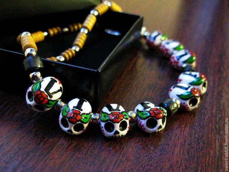 """Купить Ожерелье """"VIVA LA VIDA"""" - ожерелье, бусы, мексика, мексиканские черепа, череп, дерево"""