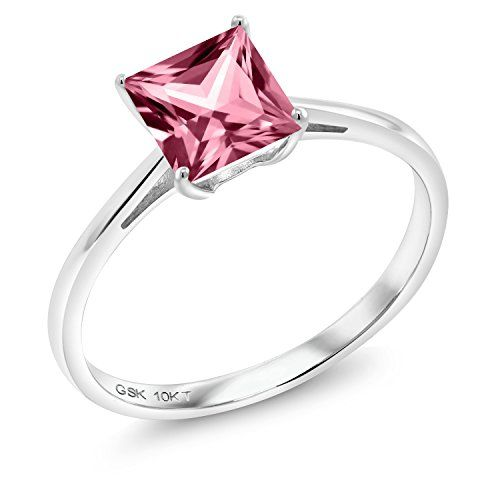 10k White Gold Solitaire Ring Set With Princess Pink Topaz From Swarovski Size 6 White Gold Solitaire Engagement Ring White Gold Solitaire Solitaire Ring Set
