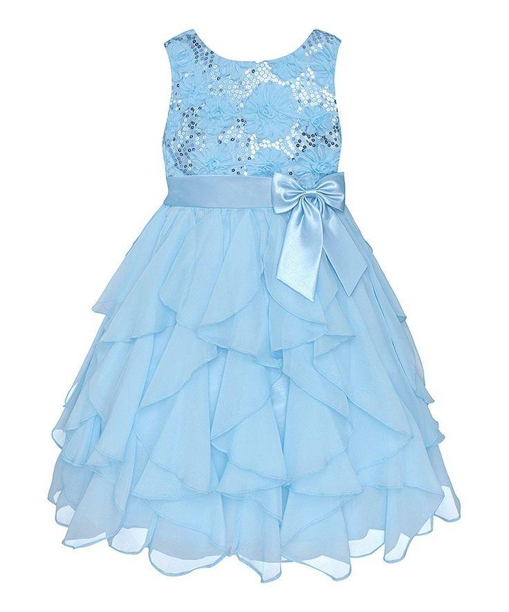 chinese chiffon sky blue ball gown spring summer Elegant Flower Girl Dress For Weddings dress for party girl #Affiliate