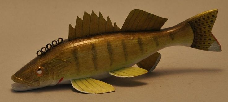 Rich Brooks Walleye Folk Art Fish Decoy Ice Fishing Lure