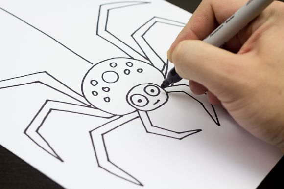 Simple step by step instructions on how to draw a spider. Watch the short video, and download the free instructions.