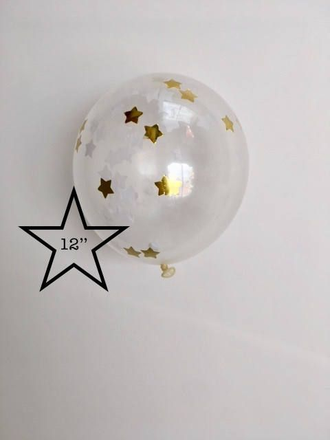 Confetti Balloon - White and Gold - 12 inch - Tissue Paper Decor- Paper Rabbit- White and Gold Decor. Twinkle Twinkle Little Star Decor by PaperRabbit87 on Etsy