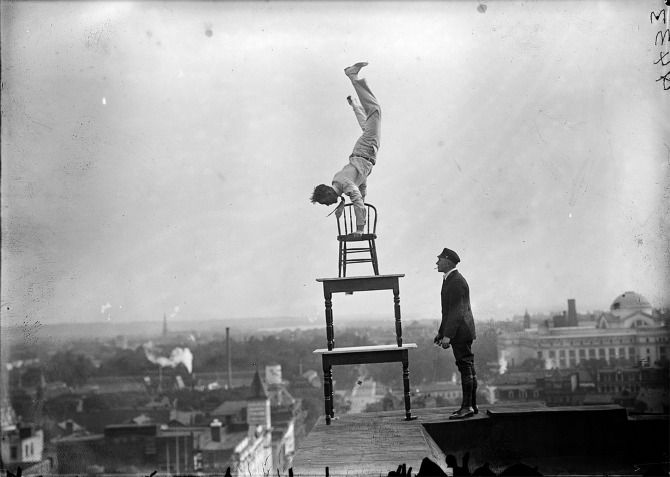 Balance.: Balance, Black And White, Vintage Pictures, Cornices, Vintage Circus, Vintage Photo, Jug Reynolds, Photography, Chairs Design