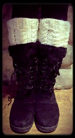 Cable knit boot toppers and lace up boots