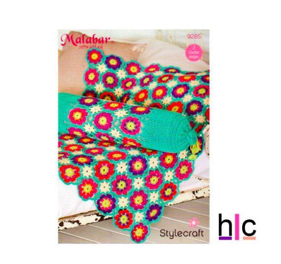Stylecraft Crochet Pattern 9285 Flower Throw Bolster Cushion