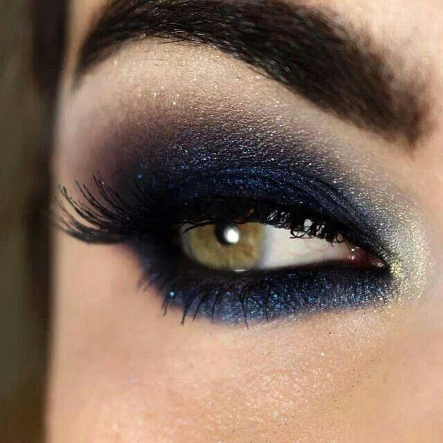 Dark Blue Smokey Eye♡ | I feel pretty | Pinterest ...  Dark Blue Smoke...