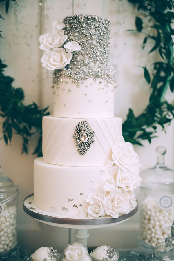 The MOST glamorous and glitzy wedding cake EVER! Decadently and generously jewel encrusted. This is the Jenny Packham cake equivalent… Spring wedding cakes you won't be able to resist • Wedding Ideas magazine