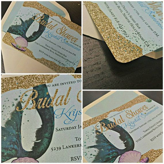 Mermaid Bridal Shower Invitation  Mermaid by AmiraDesign on Etsy