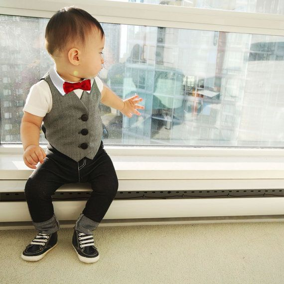 Baby Boy Dressy Outfit | Boys Easter Spring Clothes | Toddler Boy Vest Suit | Red Bowtie Denim Jeans First 1st Birthday Wedding Outfit