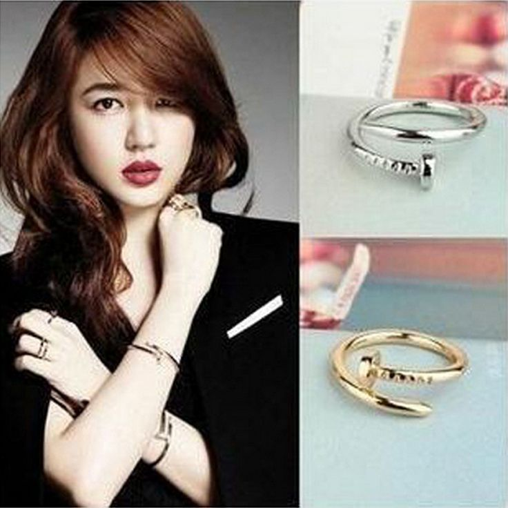 Korean Jewelry Gianna Jun Qianson From The Stars You Yi To Together With A Screw Nail Nail Ring Wholesale