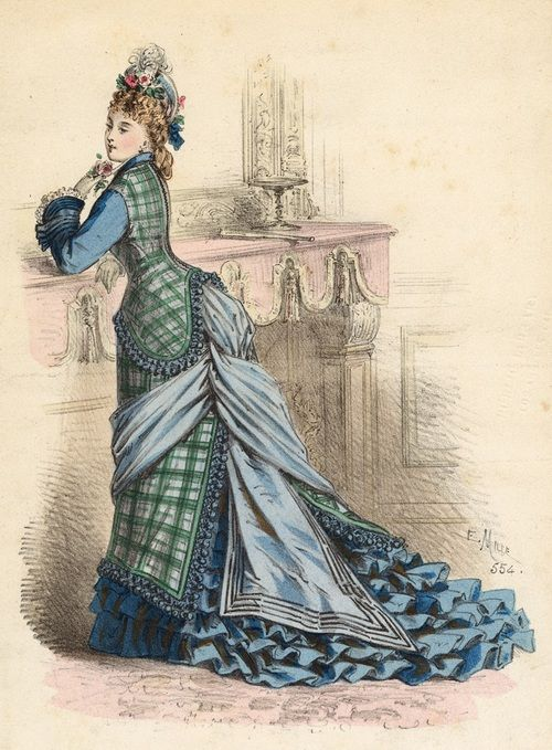 July fashion, 1875 France, L'Élégance Parisienne  I'm not sure what I think about the color/print combination and the pompom tassels, but I love the cut of the bodice and the way the bustle is draped.