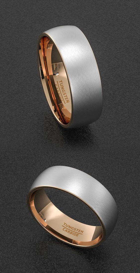 Mens Wedding Band Tungsten Ring Two Tone 8mm Brush Matte Surface Dome Rose Gold Tungsten Carbide Ring