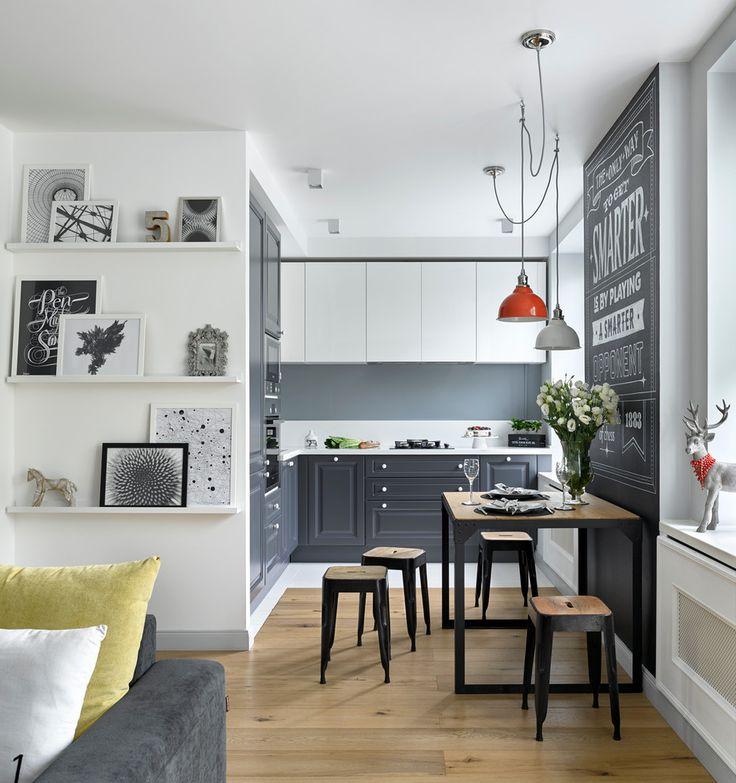Small scandinavian kitchen with raised panel gray cabinets and light hardwood floors