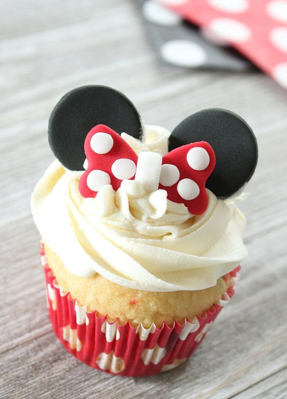 Minnie mouse ears and bow cupcake toppers by ConfettiCupcakesCo