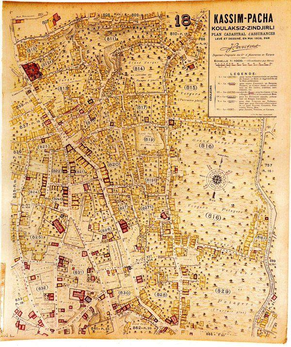 Jacques Pervititch'in 1926 yılında hazırladığı Kasımpaşa haritası