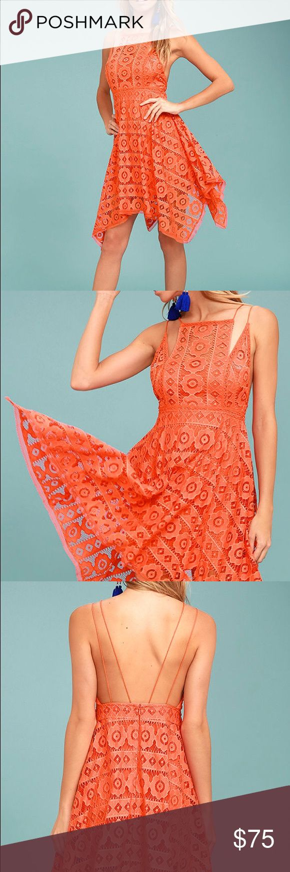 FREE PEOPLE  just like honey dress orange/coral New with department store tags size 0 The Free People Just Like Honey Coral Orange Lace Dress is as sweet-as-can-be! Romantic lace overlay forms this sleeveless dress with a unique, high neckline, and crochet lace princess seams. Skirt falls to a flirty length with handkerchief hem. Braided double straps and hidden back zipper/clasp. Lined. Self: 72% Nylon, 28% Cotton. Lining: 100% Rayon. Hand Wash Cold. Imported. Free People Dresses