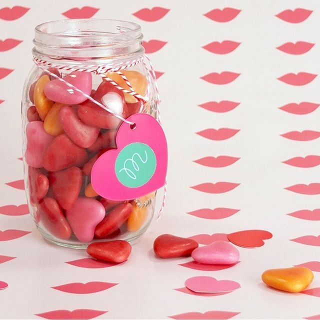 "It's almost valentines day! ❤ Can you guess how many candy hearts are in the jar? You can win 2 meters of fabric with a pattern of choice! Leave your guess in a comment to join. Pattern: ""Kiss me, my darling"" by @mimimouandme 💋"