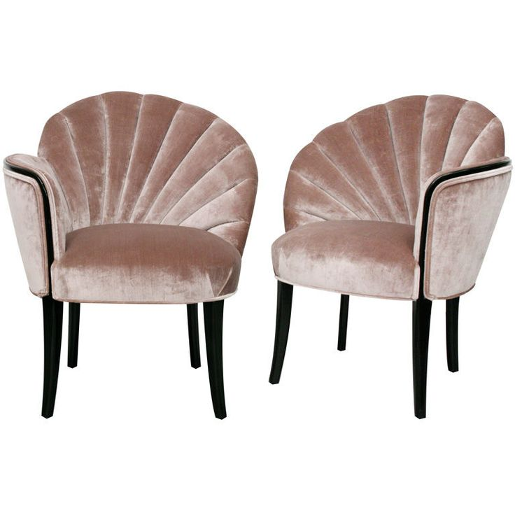 Pair of 1920's Art Deco Shell Back Boudoir Chairs | From a unique collection of antique and modern slipper chairs at https://www.1stdibs.com/furniture/seating/slipper-chairs/