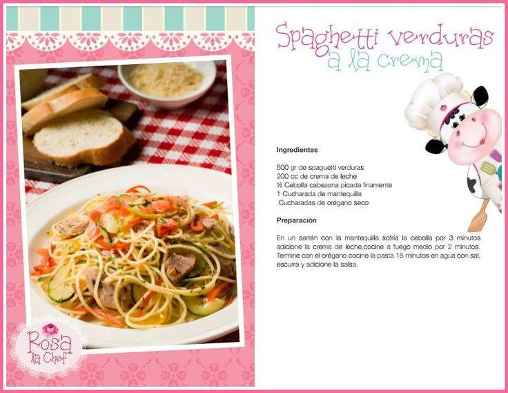 Spaghetti Verduras a la crema.