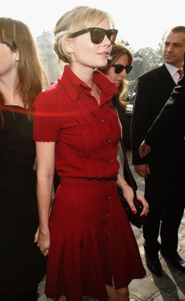 Kirsten Dunst in red shirt dress | Aquire a red dress, or better still a matching red skirt and shirt to use as separates as well.