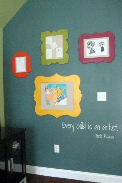 kids art display - Every Child is an artist...  my wall is going up soon!