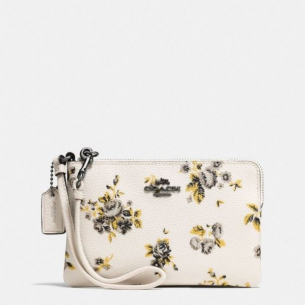 Coach Small Wristlet ($65) ❤ liked on Polyvore featuring bags, handbags, clutches, white wristlet, strap purse, wristlet clutches, floral handbags and coach clutches