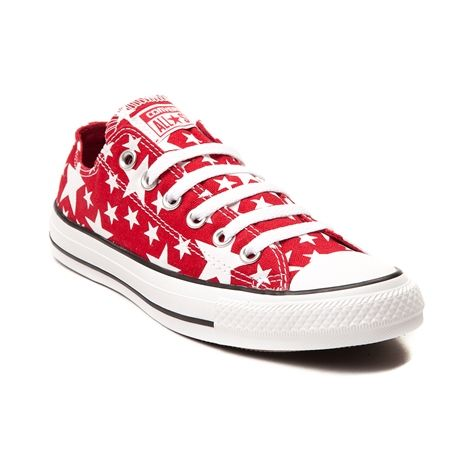 The stars are aligned for the new Stars Chucks from Converse! Lace up your look with the Stars Sneaker sporting a star printed canvas upper with front lace closure, classic rubber toe cap, and signature Converse rubber outsole. Please note that this shoe runs a half size large. Manufacturer style 147119F
