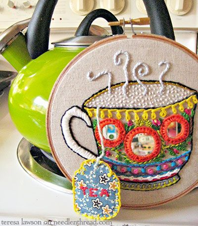 ♒ Enchanting Embroidery ♒ embroidered  Tea Cup Sampler #HandEmbroidery