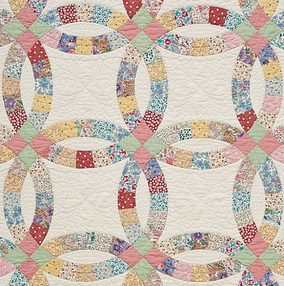 double wedding ring precut quilt kit 1930s by thefoxandthefable 6500 - Wedding Ring Quilt Pattern