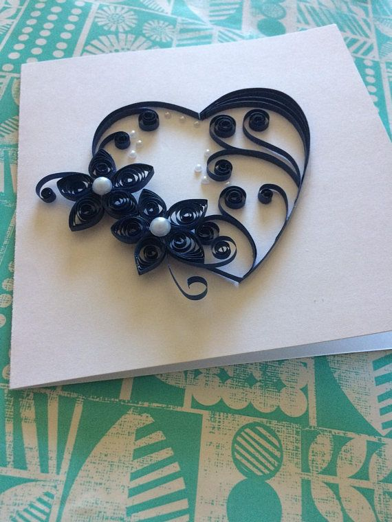 A unique handmade quilled navy heart has just mounted on a white card stock which is perfect for sending to someone you love, special birthday, greetings to a special person! This card can be used for any special occasion: Birthday, Valentines Day, Fathers Day, Wedding anniversary. Its